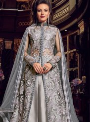 Grey Bridal Long Choli Lehenga