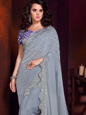 Grey Bridal Trendy Saree