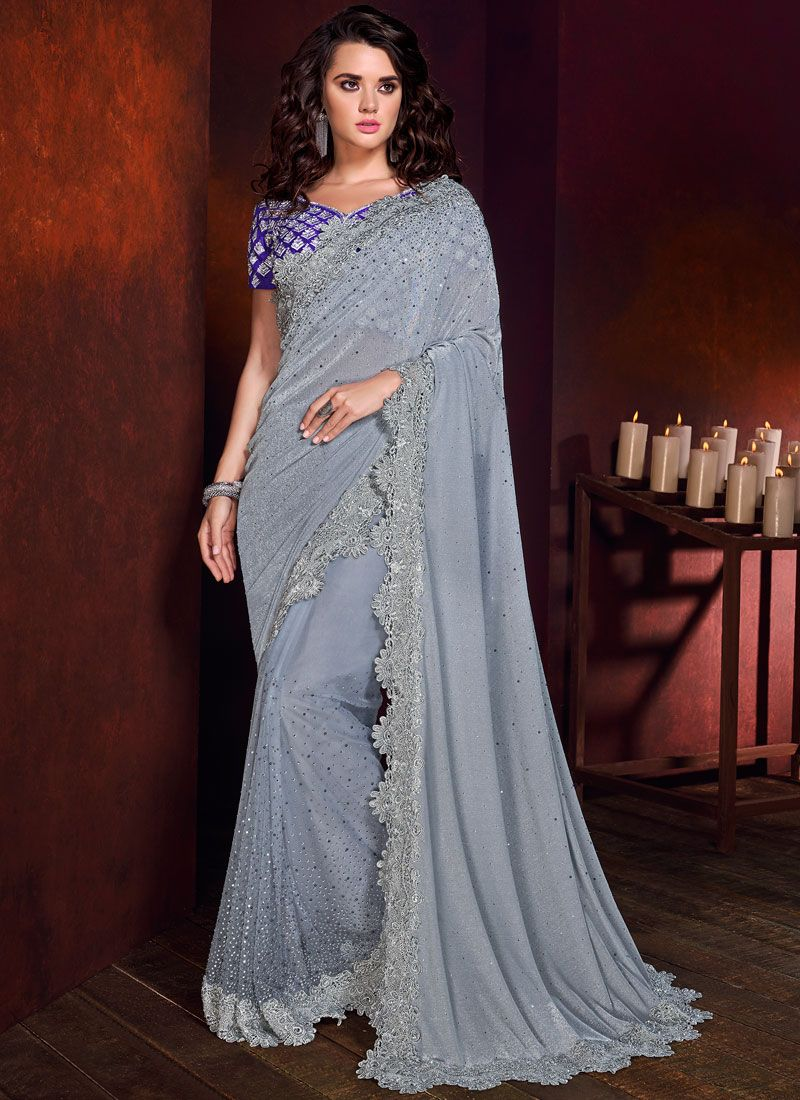 Grey Bridal Trendy Saree
