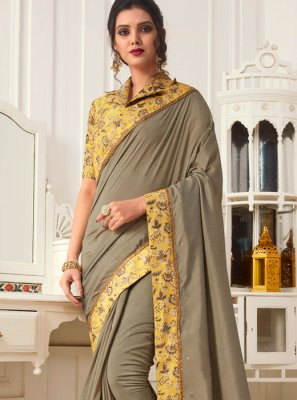 Grey Casual Faux Chiffon Casual Saree