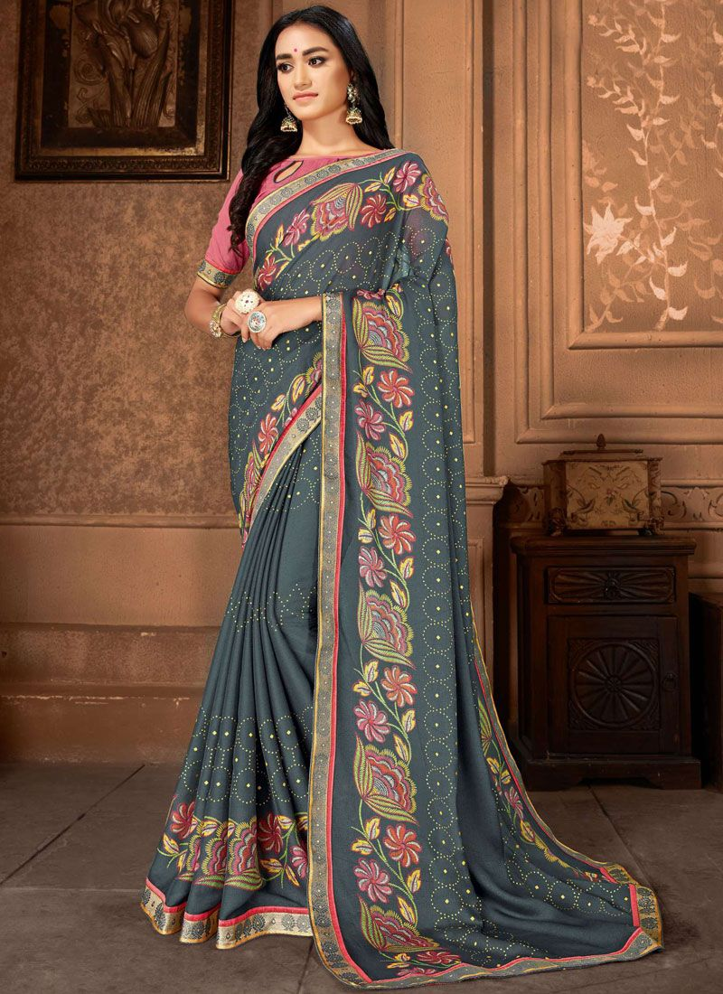 Grey Casual Faux Georgette Casual Saree