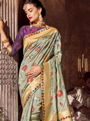 Grey Ceremonial Art Silk Classic Designer Saree