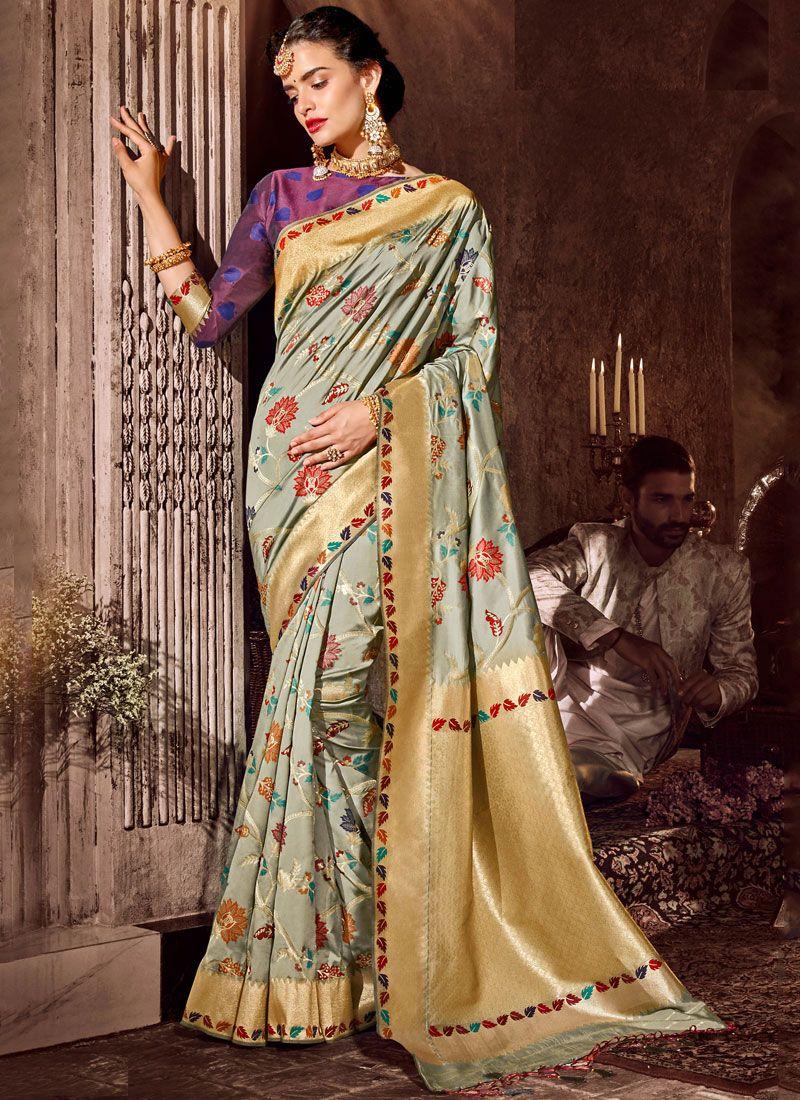 Grey Ceremonial Art Silk Classic Designer Saree