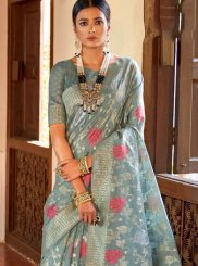 Grey Ceremonial Art Silk Classic Saree