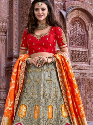 Grey Ceremonial Banarasi Silk A Line Lehenga Choli