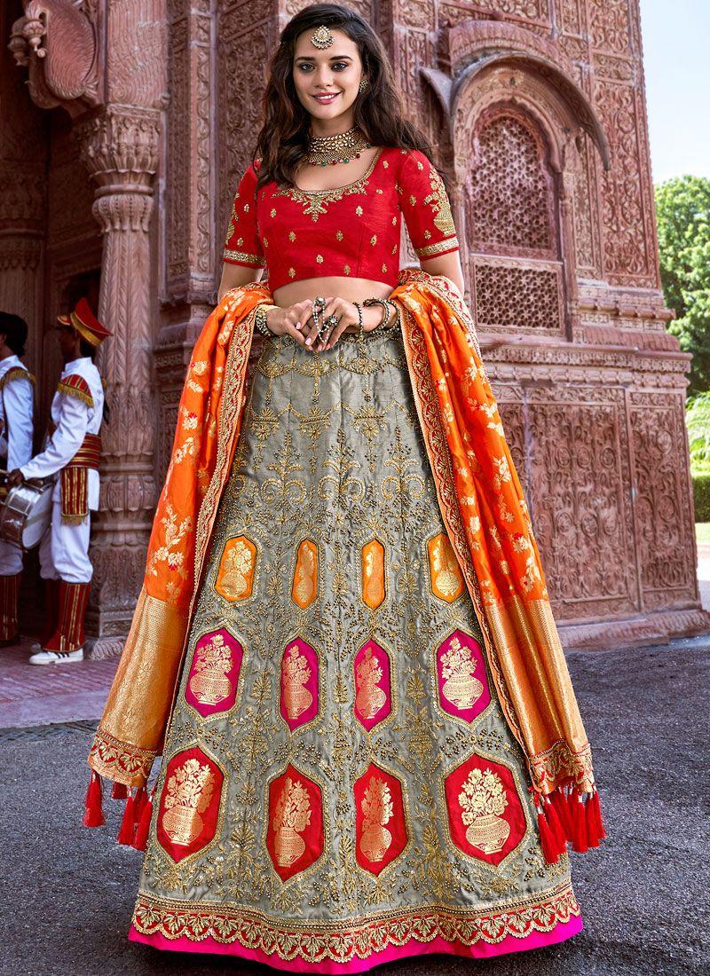 Grey Ceremonial Banarasi Silk A Line Lehenga Choli