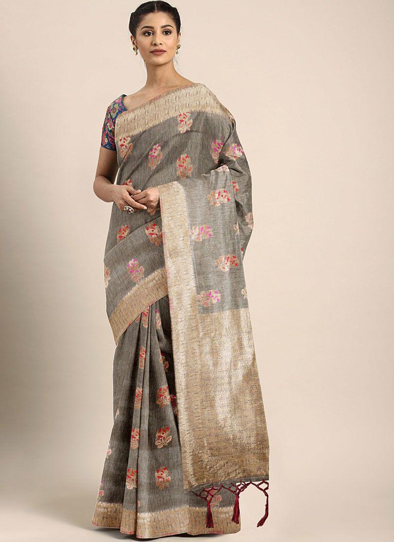 Grey Ceremonial Designer Traditional Saree