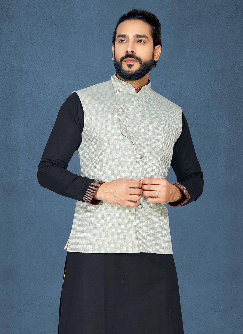 Grey Ceremonial Jacquard Nehru Jackets