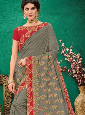 Grey Ceremonial Traditional Saree