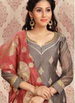 Grey Chanderi Churidar Designer Suit