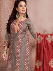 Grey Chanderi Sangeet Churidar Suit