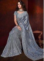 Grey Color Classic Saree