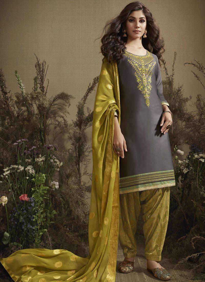 Grey Color Designer Patiala Salwar Kameez