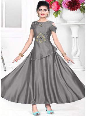 Grey Color Designer Readymade Gown