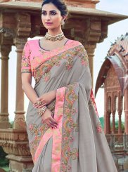 Grey Color Designer Traditional Saree