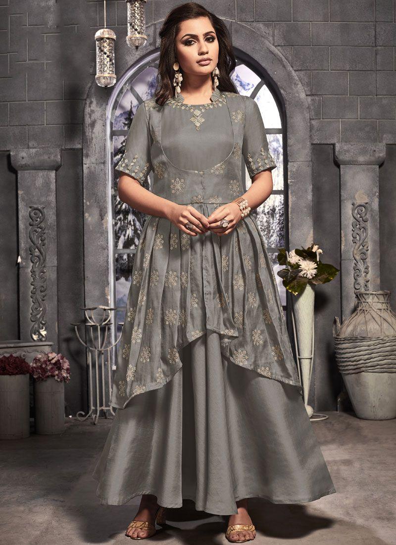 Grey Color Desinger Anarkali Suit