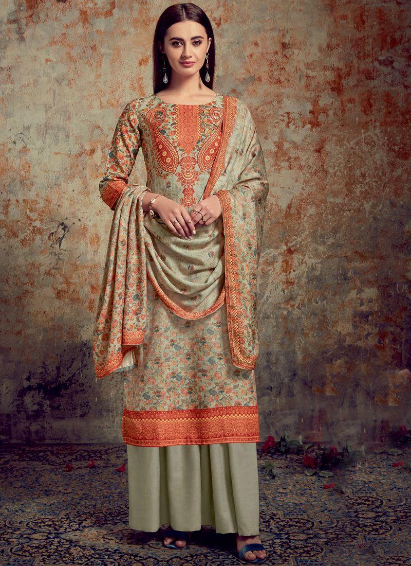 Grey Color Palazzo Salwar Suit