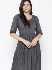 Grey Cotton Casual Kurti