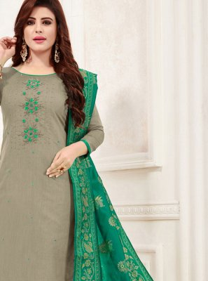 Grey Cotton Churidar Salwar Kameez