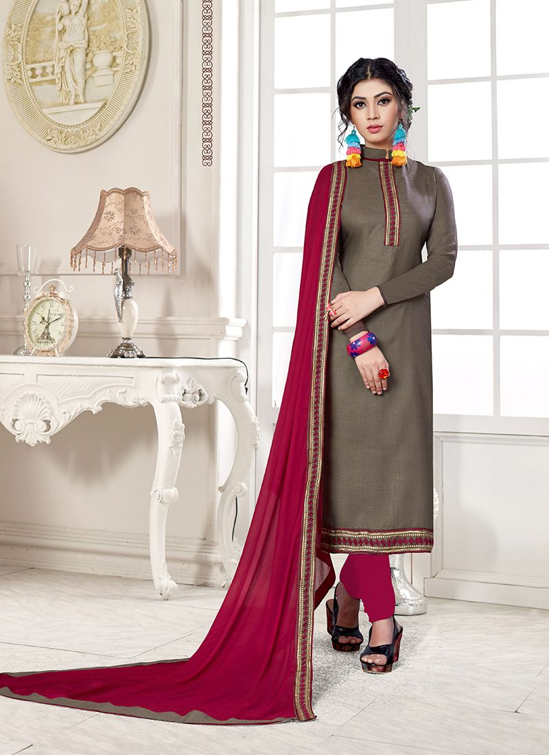 Grey Cotton Embroidered Designer Straight Suit