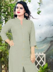 Grey Cotton Plain Casual Kurti