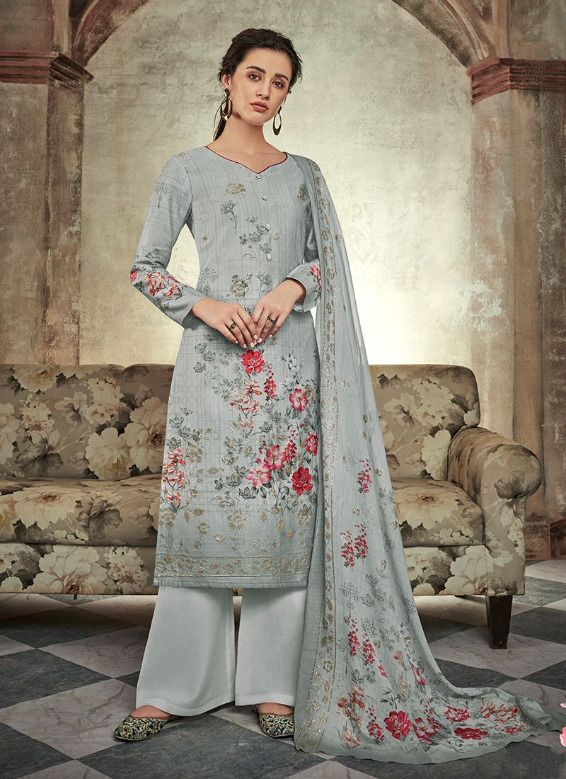 Grey Cotton Satin Abstract Print Designer Palazzo Suit