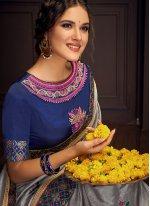 Grey Cotton Silk Festival Trendy Saree