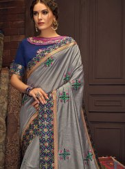 Grey Cotton Silk Festival Trendy Saree