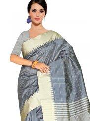Grey Cotton Silk Traditional Designer Saree