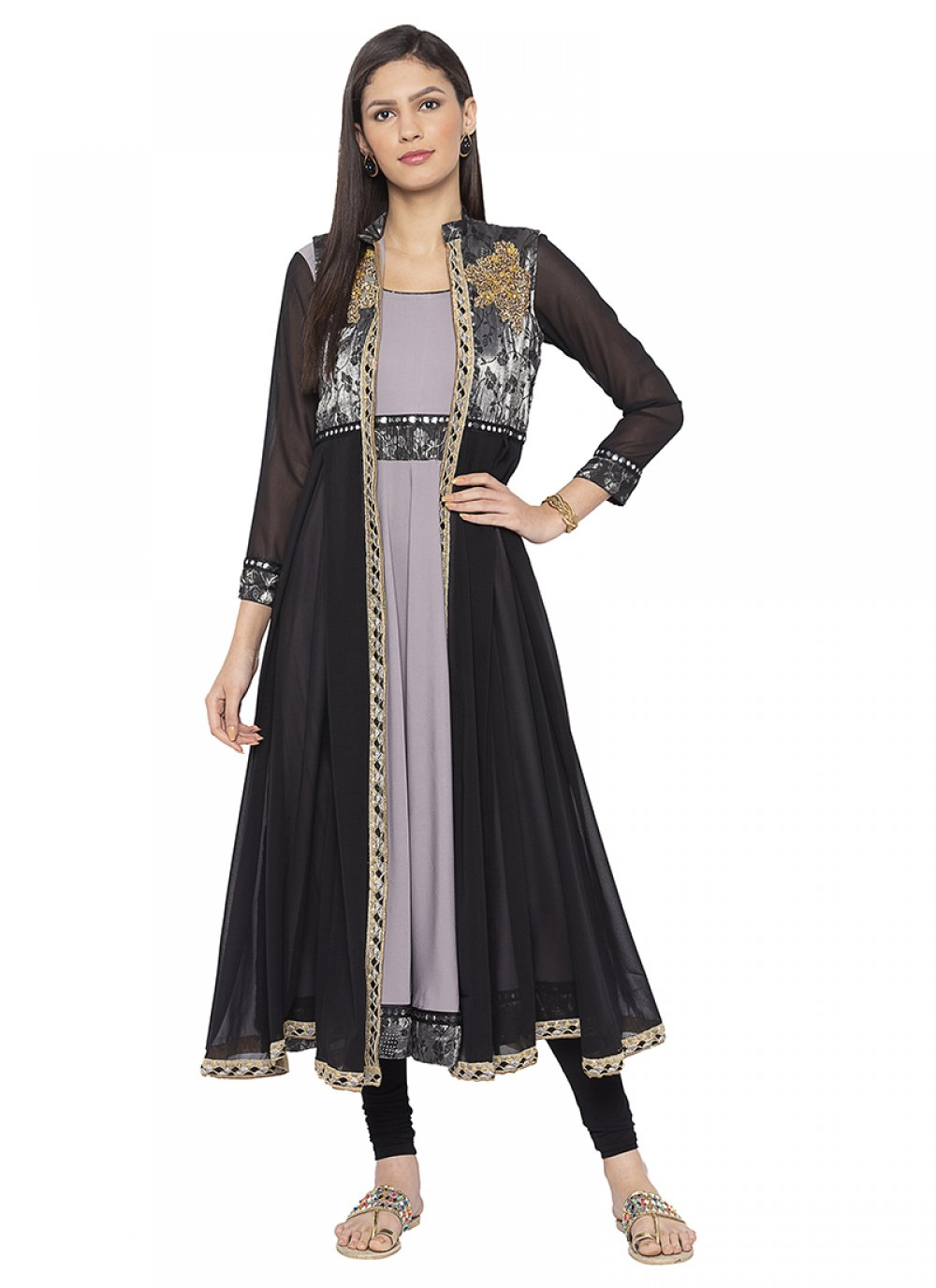 Grey Crepe Silk Ceremonial Designer Salwar Kameez