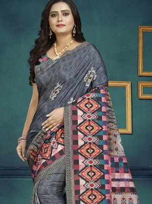 Grey Digital Print Silk Casual Saree