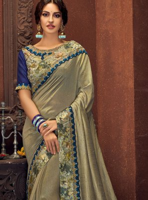 Grey Digital Print Trendy Saree
