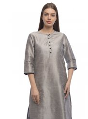 Grey Dupion Silk Plain Designer Kurti