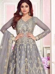 Grey Embroidered Anarkali Salwar Kameez
