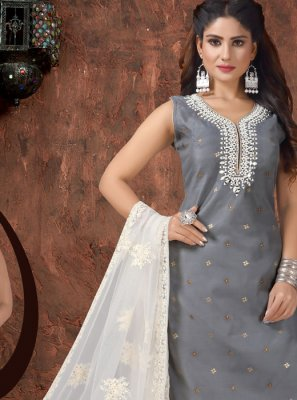 Grey Embroidered Art Silk Readymade Suit