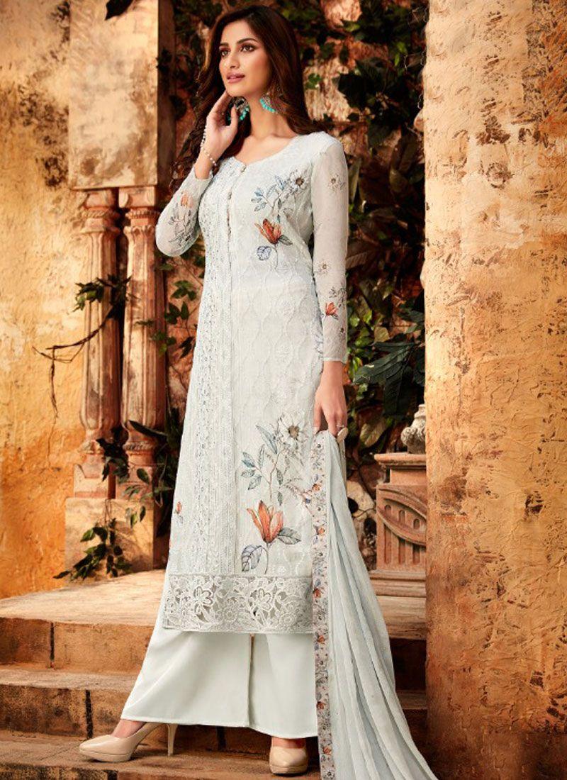 Grey Embroidered Bamber Georgette  Designer Palazzo Salwar Kameez