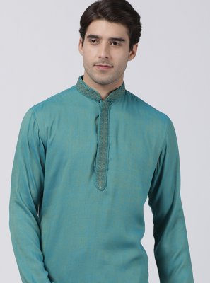 Grey Embroidered Ceremonial Kurta