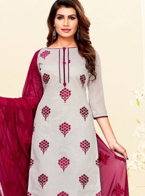 Grey Embroidered Chanderi Churidar Suit