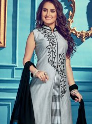 Grey Embroidered Chanderi Designer Palazzo Salwar Kameez
