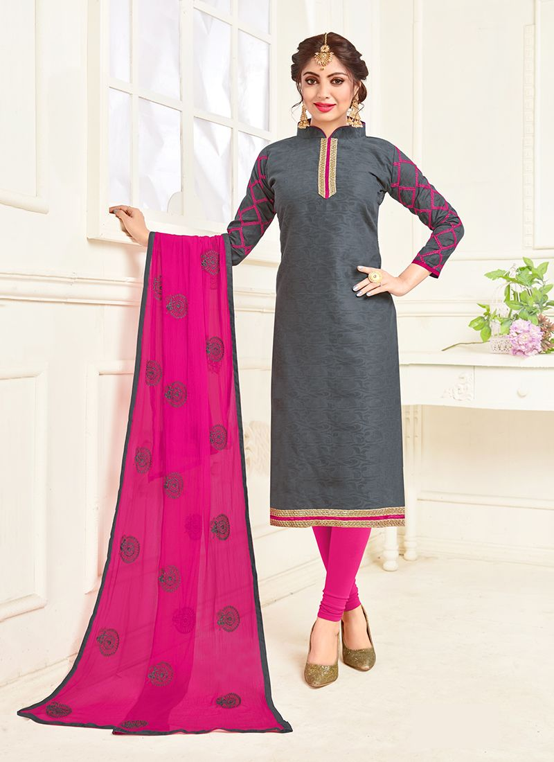 Grey Embroidered Cotton Churidar Suit