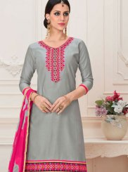Grey Embroidered Cotton Designer Patiala Salwar Kameez