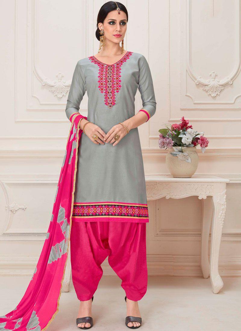 Grey Embroidered Cotton Designer Patiala Salwar Kameez