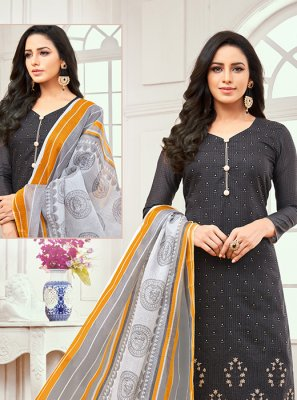 Grey Embroidered Cotton Satin Designer Salwar Kameez
