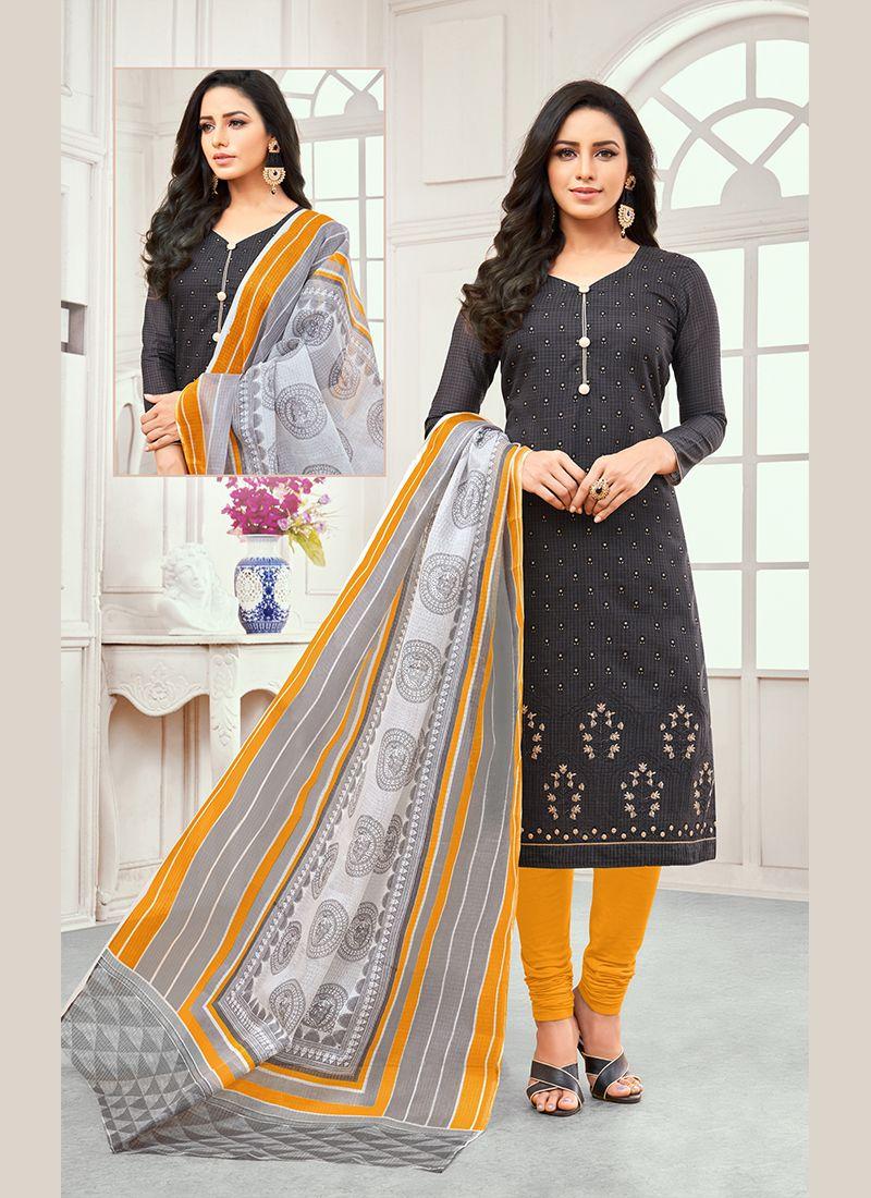 Grey Embroidered Cotton Satin Designer Salwar Kameez