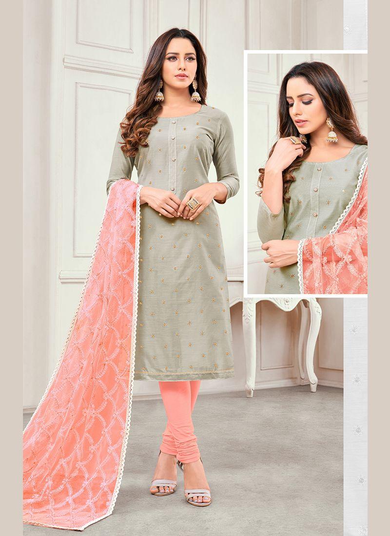 Grey Embroidered Cotton Satin Salwar Kameez