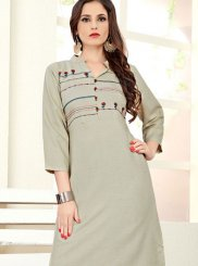 Grey Embroidered Cotton Silk Casual Kurti