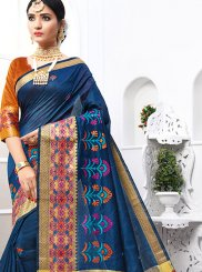 Grey Embroidered Cotton Traditional Designer Saree