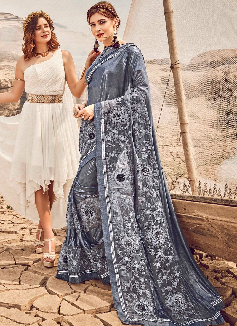 Grey Embroidered Designer Traditional Saree