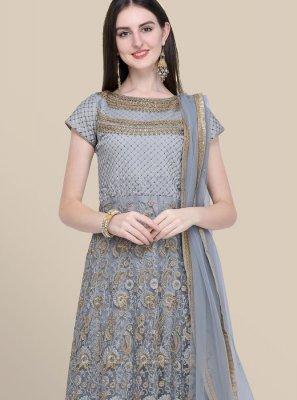 Grey Embroidered Festival Anarkali Salwar Kameez