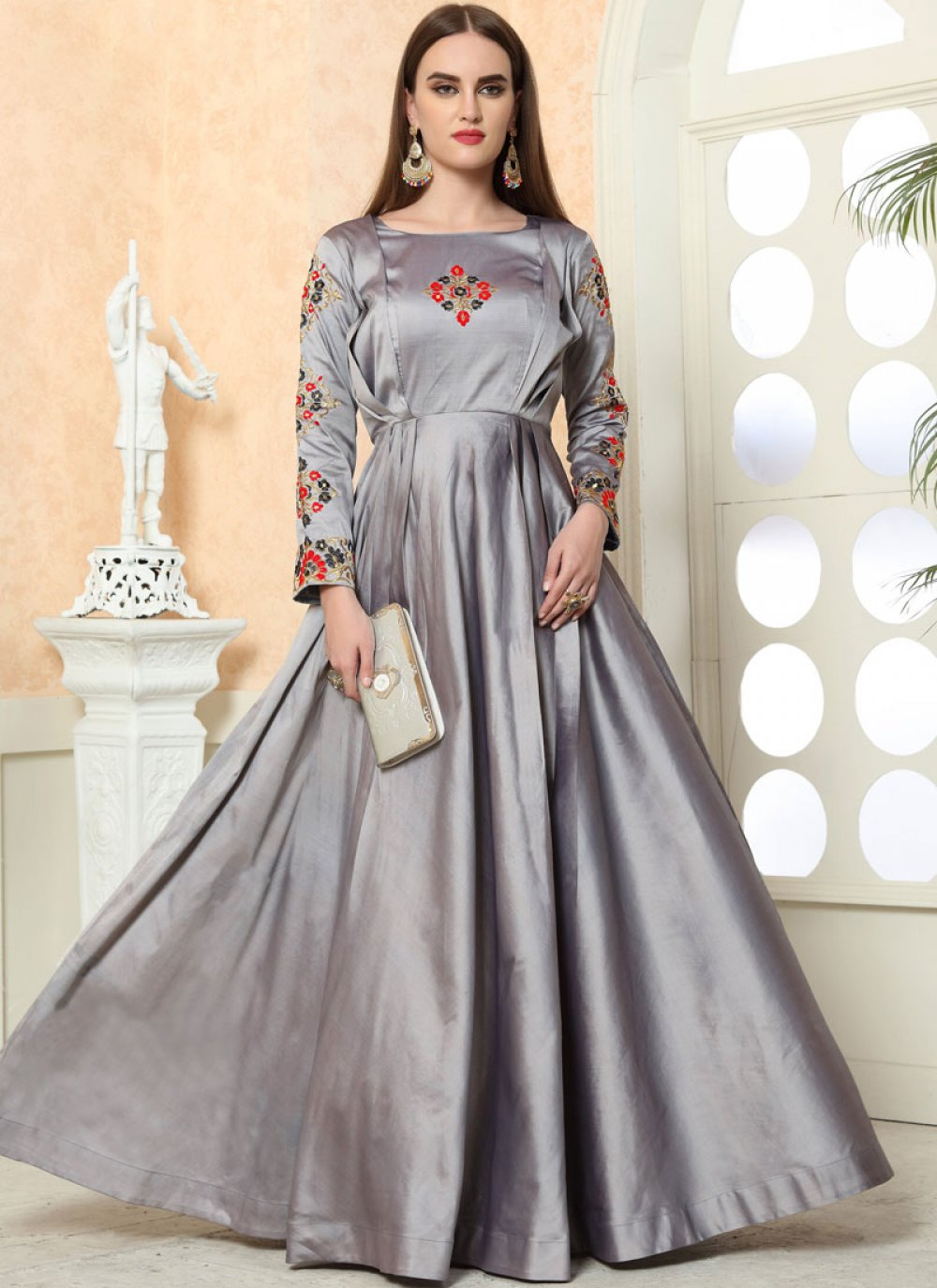 Grey Embroidered Festival Designer Gown